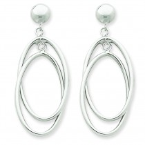 Double Oval Dangle Post Earrings in 14k White Gold