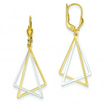 Leverback Drop Earrings in 14k Two-tone Gold