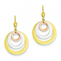 Tricolor Circle Leverback Dangle Earrings in 14k Tri-color Gold
