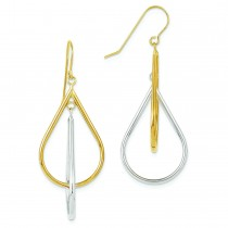 Tear Drop Tube Leverback Earrings in 14k Two-tone Gold