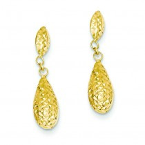 Diamond Cut Puff Teardrop Dangle Earrings in 14k Yellow Gold