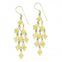 Diamond Cut Chandelier Earrings in 14k Yellow Gold