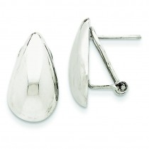 Tear Drop Omega Back Earrings in 14k White Gold
