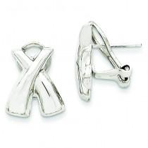 Omega Back Post Earrings in 14k White Gold