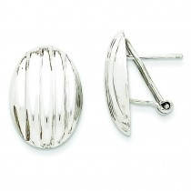 Fancy Omega Back Post Earrings in 14k White Gold