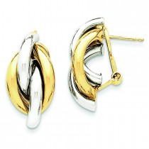 Swirl Omega Back Post Earrings in 14k Two-tone Gold