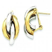 Swirl Omega Back Post Earrings in 14k Two-tone Gold