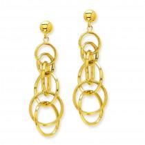 Circle Drop Post Earrings in 14k Yellow Gold