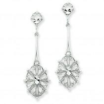 Diamond Cut Filigree Earrings in 14k White Gold