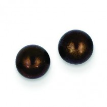 Black Button Cultured Pearl Stud Earrings in 14k Yellow Gold