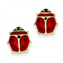Enameled Ladybug Earrings in 14k Yellow Gold