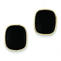 Black Onyx Earrings in 14k Yellow Gold