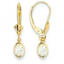 White Zircon Leverback Earrings in 14k Yellow Gold