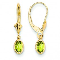Peridot Leverback Earrings in 14k Yellow Gold