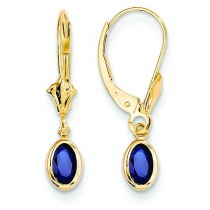 Sapphire Leverback Earrings in 14k Yellow Gold