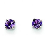 Amethyst Stud Earrings in 14k White Gold