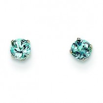 Aquamarine Stud Earrings in 14k White Gold