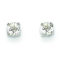 White Topaz Stud Earrings in 14k White Gold