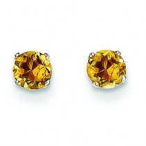 Citrine Stud Earrings in 14k White Gold