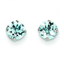 Aquamarine Stud Earrings in 14k White Gold