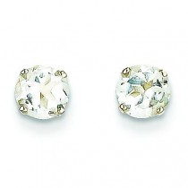 White Topaz Stud Earrings in 14k White Gold