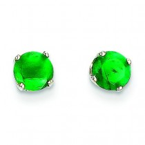 Emerald Stud Earrings in 14k White Gold