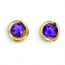 Amethyst Stud Earrings in 14k Yellow Gold