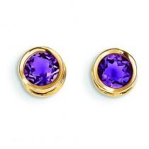 Amethyst Stud Earrings in 14k Yellow Gold