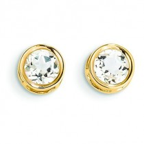 White Topaz Stud Earrings in 14k Yellow Gold