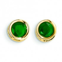 Emerald Stud Earrings in 14k Yellow Gold