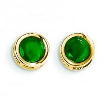 Emerald Stud Earrings in 14k Yellow Gold