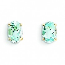 Aquamarine Post Earrings in 14k Yellow Gold