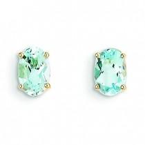 Aquamarine Post Earrings in 14k Yellow Gold