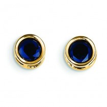 Sapphire Stud Earrings in 14k Yellow Gold