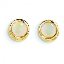 Opal Stud Earrings in 14k Yellow Gold