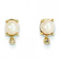 Diamond Cultured Pearl Birthstone Earrings in 14k Yellow Gold (0.018 Ct. tw.)