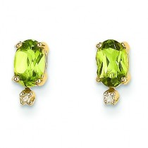 Diamond Peridot Birthstone Earrings in 14k Yellow Gold (0.018 Ct. tw.)