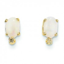 Diamond Opal Birthstone Earrings in 14k Yellow Gold (0.018 Ct. tw.)