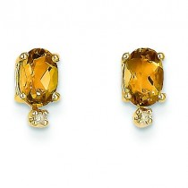 Diamond Citrine Birthstone Earrings in 14k Yellow Gold (0.018 Ct. tw.)