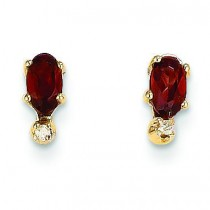 Diamond Garnet Birthstone Earrings in 14k Yellow Gold (0.018 Ct. tw.)