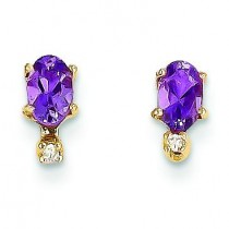 Diamond Amethyst Birthstone Earrings in 14k Yellow Gold (0.018 Ct. tw.)