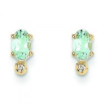 Diamond Aquamarine Birthstone Earrings in 14k Yellow Gold (0.018 Ct. tw.)