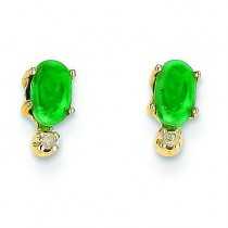Diamond Emerald Birthstone Earrings in 14k Yellow Gold (0.018 Ct. tw.)