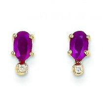 Diamond Ruby Birthstone Earrings in 14k Yellow Gold (0.018 Ct. tw.)