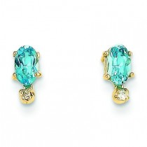 Diamond Blue Topaz Birthstone Earrings in 14k Yellow Gold (0.018 Ct. tw.)