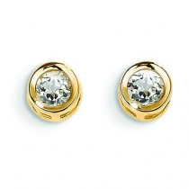 White Zircon Post Earrings in 14k Yellow Gold
