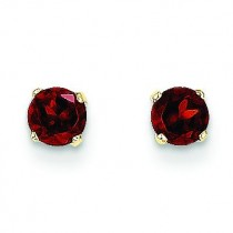 Garnet Post Earrings in 14k Yellow Gold