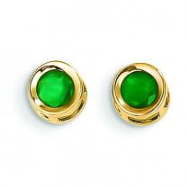Emerald Post Earrings in 14k Yellow Gold