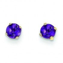 Amethyst Post Earrings in 14k Yellow Gold