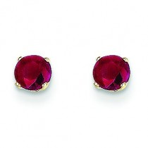 Ruby Post Earrings in 14k Yellow Gold